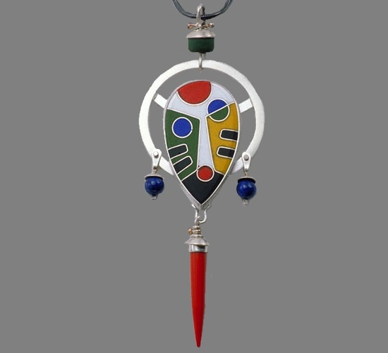 African mask. Enamel, silver, assorted stones