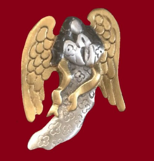Angel Pin of gold and silver tone. Pewter