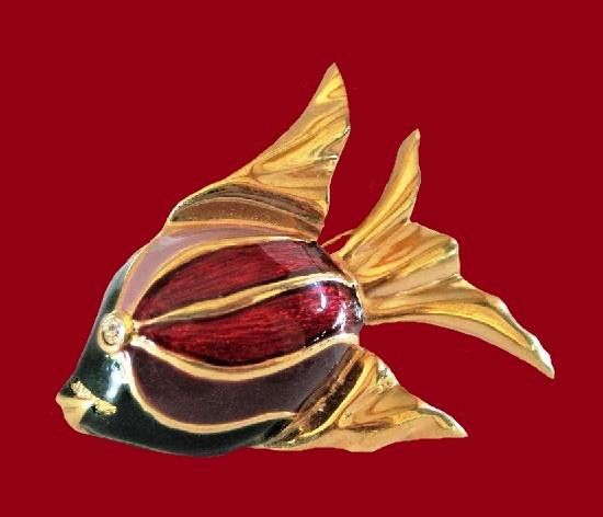 Angel fish brooch. Gold plated, enamel, rhinestones
