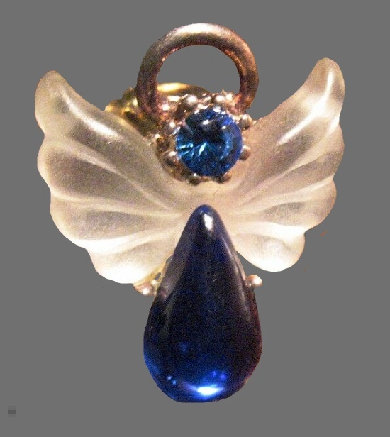 Angel pin pendant. Lucite, glass, sapphire color crystal