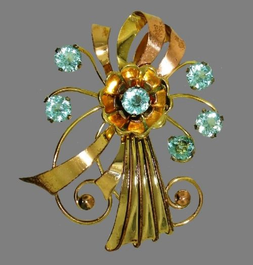 Aqua rhinestone gold filled flower brooch. 1940s