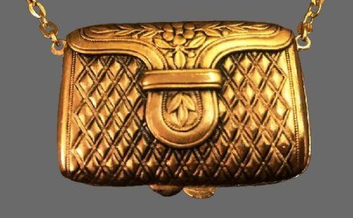 Beautiful handbag clutch purse shaped perfume compact locket Necklace