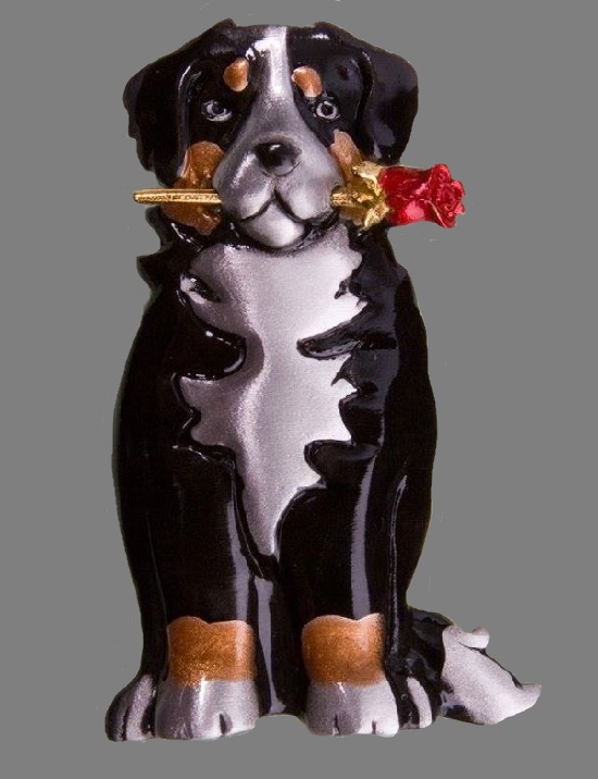 Bernese Mountain Dog Pin Pendant handmade in pewter