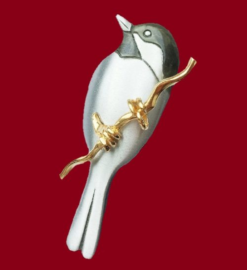 Bird brooch. Pewter, enamel, gilding. 7 cm. Marked 'Shields' and 'Pewter'