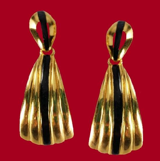 Black enamel gold plated dangle earrings