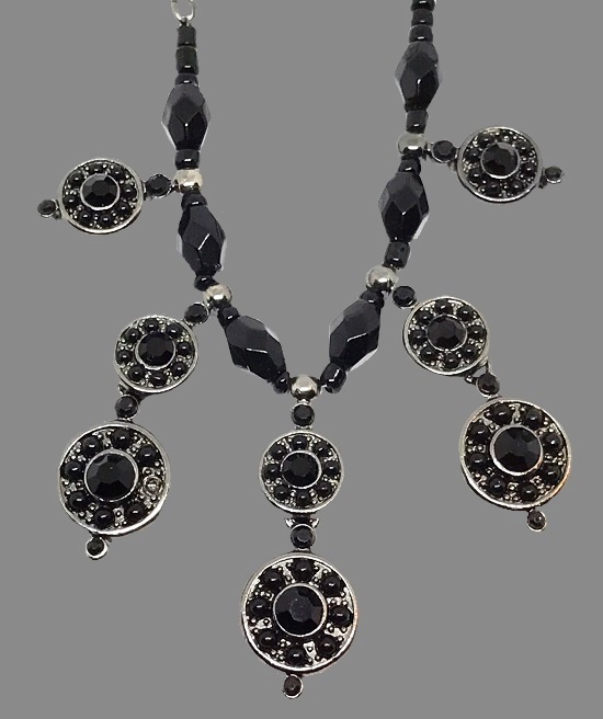 Black necklace. Black glass, silver tone metal, crystals