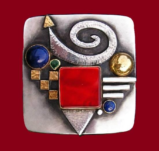 Brooch-Pendant. Silver, gold, carnelian, Emerald, lapis lazuli