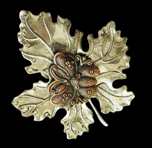 Butterfly on a leaf dress clip. Silver tone with blackening. Copper butterfly. 7.5 cm. 1980s