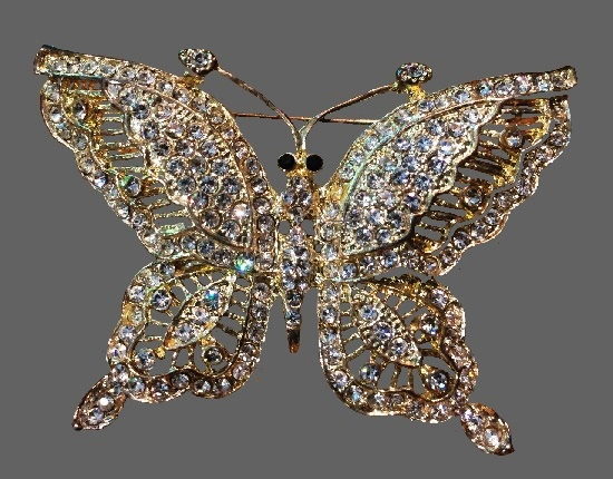 Butterfly vintage brooch, multi-color rhinestones