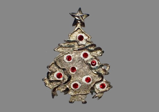 Christmas Tree brooch pin. 1995. Silver tone metal, red crystals, Rare Book Piece