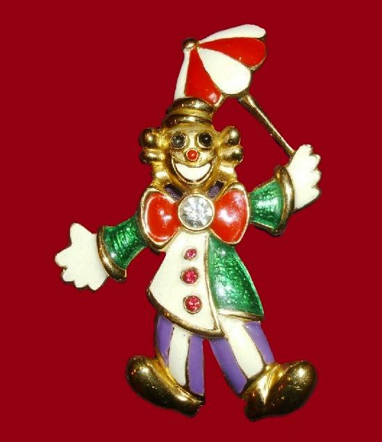Clown brooch pin. Gold plated, enamel, crystals