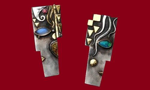 Couple 2008 Earrings. Silver, gold, Moonstone, Ruby, Opal