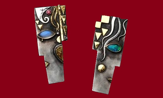 Couple 2008 Earrings. Silver, gold, Moonstone, Ruby, Opal