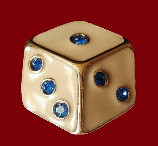 Dice Pin Brooch. Gold plated, enamel, blue crystals. 1980s