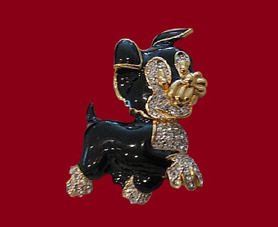 Dog pin. Gold plated, enamel, rhinestones