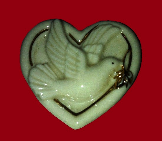 Dove heart porcelain brooch with 24k Gold Trim