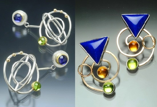 Earrings. Lolite, Peridot, 22 and 18K gold, Sterling silver. Right - Geometric design earrings. Lapis lazuli, Citrine, peridot, 14K gold filled, Sterling silver