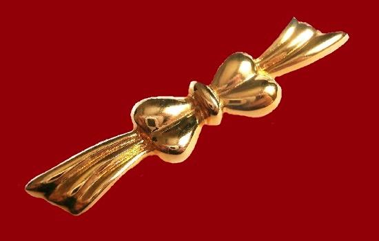 Elegant bow brooch, gold plated, vintage