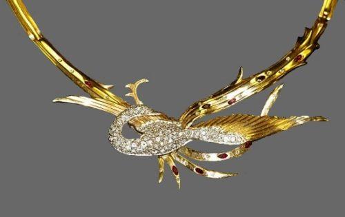 Firebird necklace. Gold, diamonds