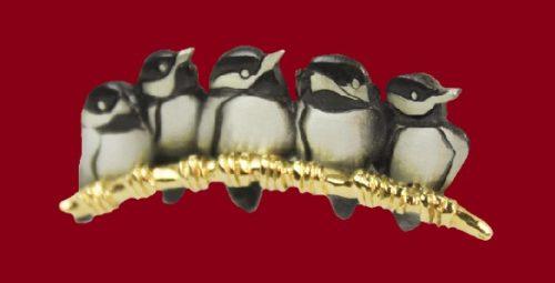 Five Little Chicks pewter lapel hat pin