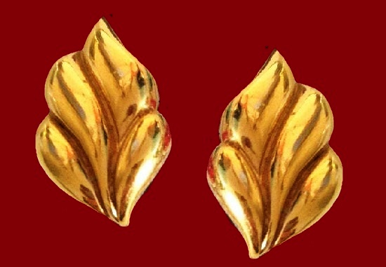 Flame clip on earrings, gold plated, 1990s