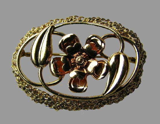 Flower in oval frame brooch pin, early 1900s