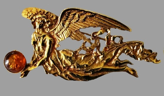 Flying Angel Carrying Amber Orb Brooch Pin