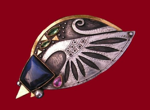 Fouquet inspired brooch -pendant 2011. Labradorite, green and pink tourmaline, silver, gold