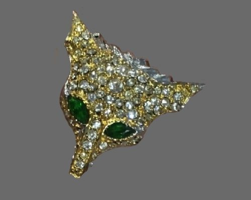 Fox ring. Sterling silver, gold plated, crystals, emerald