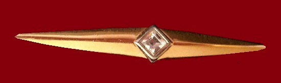 Geometric design gold plated vintage brooch, crystal insert
