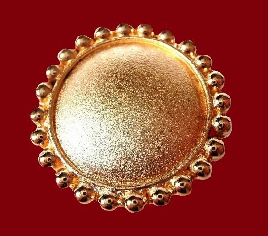 Gold Plated Round Fancy Button. 1980s