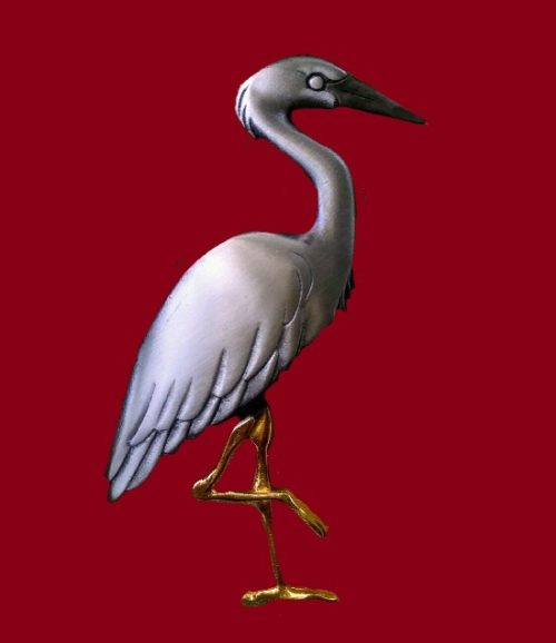 Great Blue Heron pewter brooch