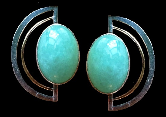 Green jade sterling silver 14 K gold earrings