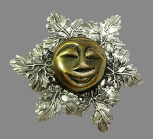 Happy man in the moon face dress scarf clip, silver and copper