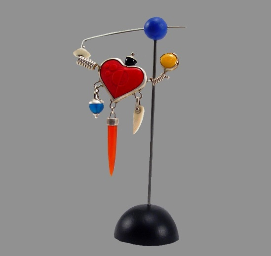Heart attack fibula enamel, silver, bone, assorted stones