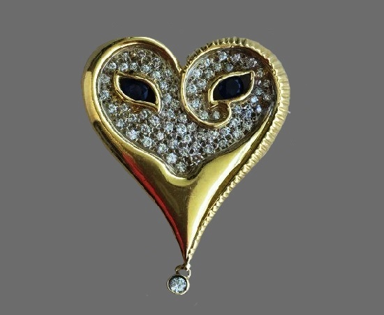 Heart brooch pendant. Gold, diamond, black onyx