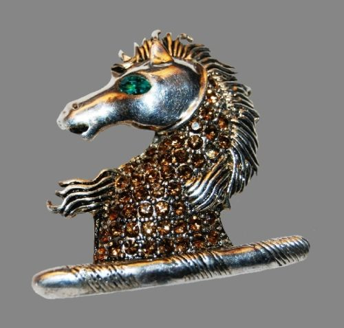 Horse head chess figure brooch. Sterling silver, rhinestones