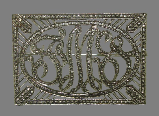 Initial marcasite brooch. 1930s