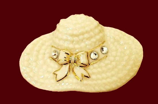 Ivory hat brooch. 24K Gold, rhinestone, porcelain
