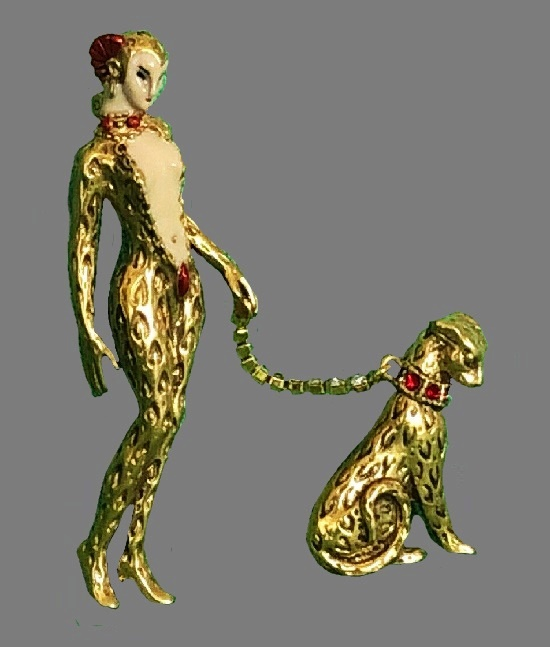 Julietta Art Deco brooch 'Leopard Lady with a baby leopard'. Gold tone textured metal, enamel, crystals