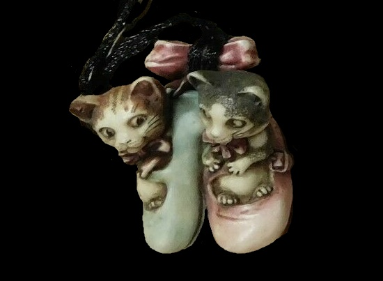 Kittens in shoes vintage pendant