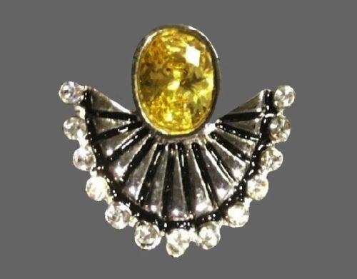 La Mer ring. Sterling silver, amber, crystals