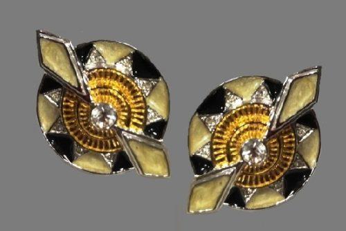 Le Soleil Noir earrings. Enamel, sterling silver, gold plated