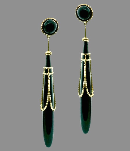 Long dangle earrings 9 cm. Vintage, 1990. 14 K gold, black onyx