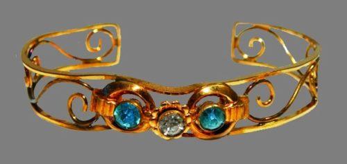 Marked HI 12K gold filled blue rhinestone cuff bangle bracelet