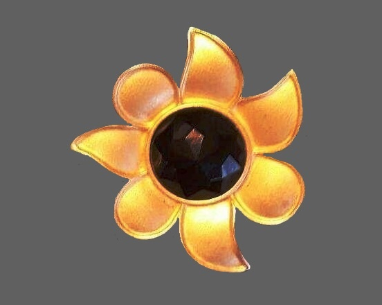 Matte gold black crystal flower pin