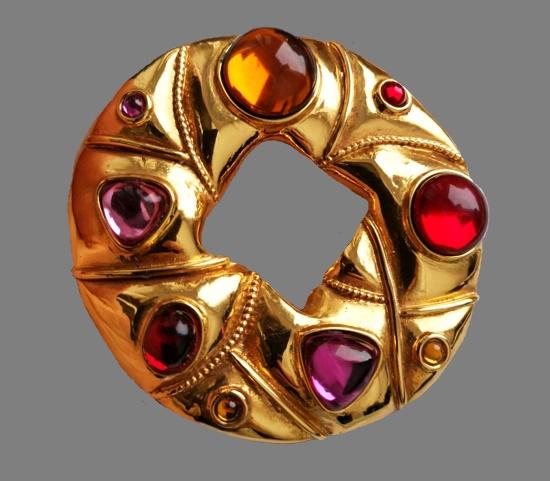 Multicolor cabochons matte gold vintage brooch. 1990s. 8 cm