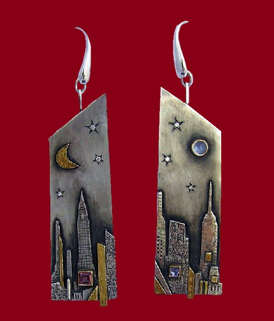 New York earrings. Silver, gold, rhodolite, iolite, diamonds