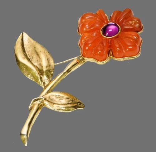 Orange flower lucite gold tone brooch