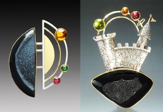 Orbit the Moon brooch. Drusy agate, Citrine, Tourmaline, 22 and 18K gold, Sterling silver. Right - Rainbow castle brooch. Drusy agate, Citrine, Peridot, Garnet, 22,14K gold, sterling silver